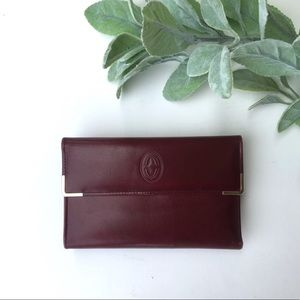 Buxton Vintage Deep Red/Maroon Leather Wallet
